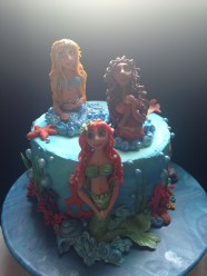 Gluten-free red velvet Mermaids under the sea cake.